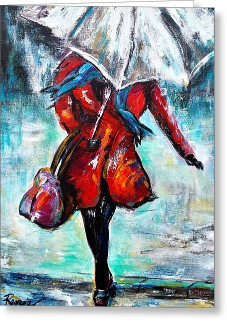 Dancing In The Rain Greeting Card by Renee Vandevere
