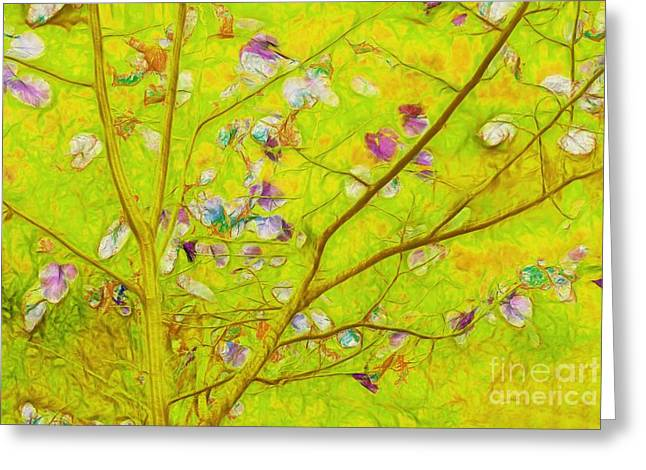 Lime Green Greeting Cards - Dancing in the Wind 01 - 343 Greeting Card by Variance Collections