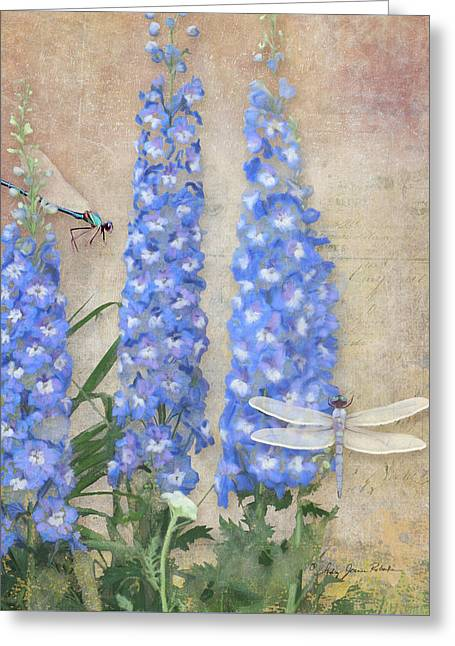 Dancing In The Wind - Damselfly N Dragonfly W Delphinium Greeting Card by Audrey Jeanne Roberts