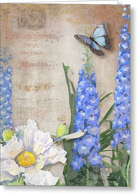 Damselflies Greeting Cards - Dancing in the Wind - Damselfly n Morpho Butterfly w Delphinium Greeting Card by Audrey Jeanne Roberts