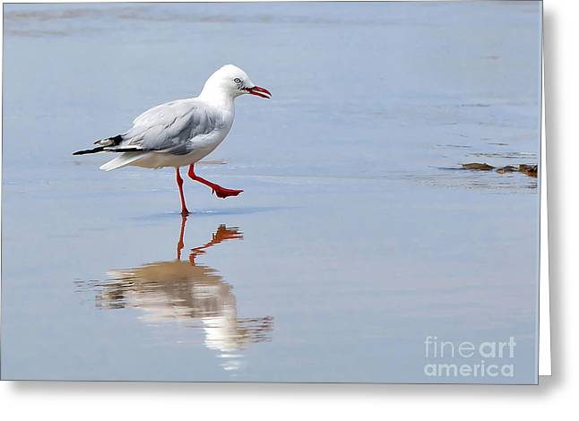 Sea With Waves Greeting Cards - Dancing in time with my Reflection Greeting Card by Kaye Menner