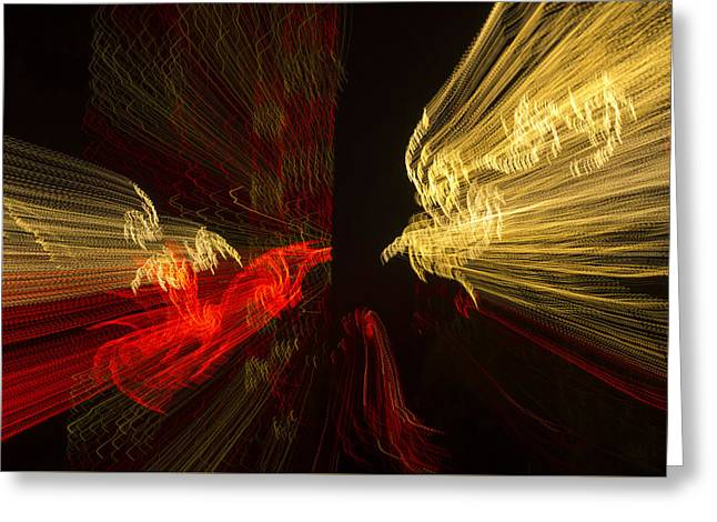 Observer Greeting Cards - Dancing Lights 2 - Up Against a Barrier Greeting Card by Penny Lisowski