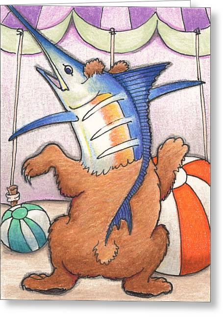 Artist Trading Card Greeting Cards - Dancing Merlbear Greeting Card by Amy S Turner