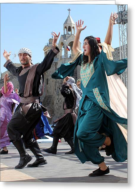 Olives Greeting Cards - Dancing near Nativity Church Greeting Card by Munir Alawi