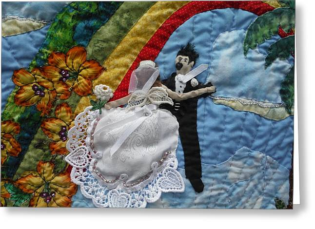 Applique Tapestries - Textiles Greeting Cards - Dancing on a cloud. Greeting Card by Shirley Goss