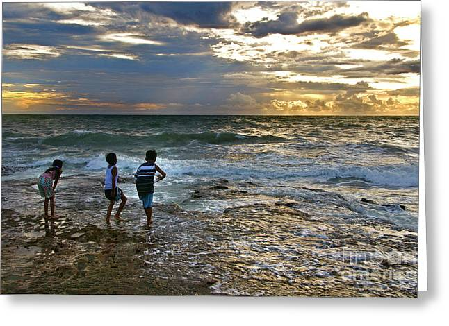 After Sunset Greeting Cards - Dancing On The Beach Greeting Card by Charuhas Images