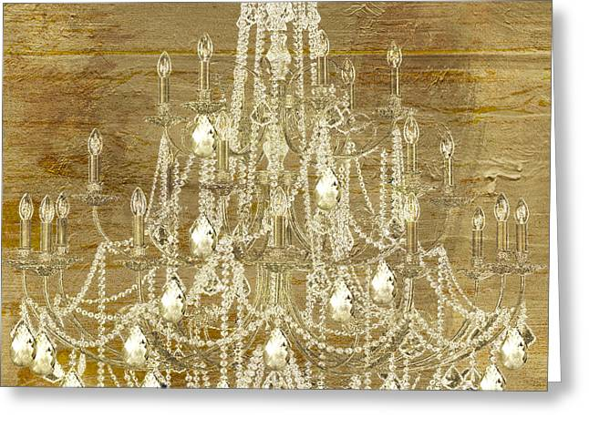 Candle Lit Paintings Greeting Cards - Lit Chandelier Gold Greeting Card by Mindy Sommers