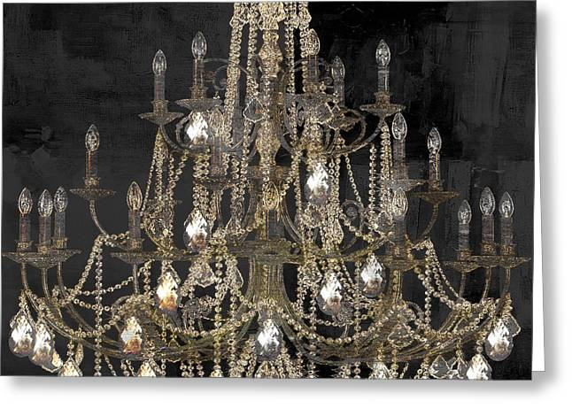 Chandelier Greeting Cards - Lit Chandelier Greeting Card by Mindy Sommers