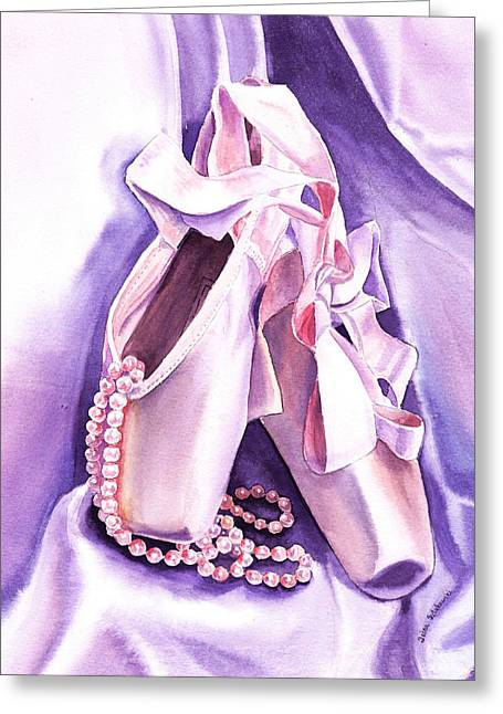 Hobby Greeting Card featuring the painting Dancing Pearls Ballet Slippers  by Irina Sztukowski