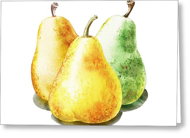 Country Kitchen Greeting Cards - Dancing Pears Greeting Card by Irina Sztukowski