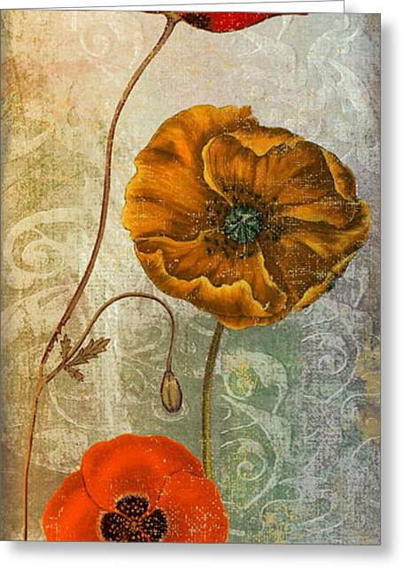 Poppies Home Decor Greeting Cards - Dancing Poppies II Greeting Card by Mindy Sommers