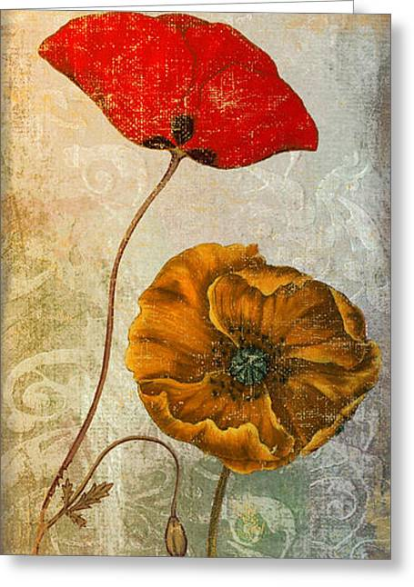 California Poppy Greeting Cards - Dancing Poppies II Greeting Card by Mindy Sommers