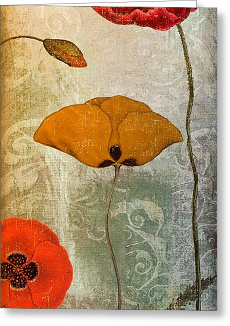 Poppies Home Decor Greeting Cards - Dancing Poppies III Greeting Card by Mindy Sommers