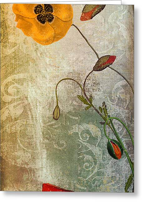 Poppies Home Decor Greeting Cards - Dancing Poppies Greeting Card by Mindy Sommers