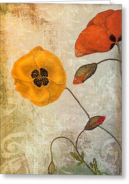 California Poppy Greeting Cards - Dancing Poppies Greeting Card by Mindy Sommers