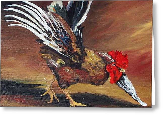 Rooster Kitchen Art Greeting Cards - Dancing Rooster  Greeting Card by Torrie Smiley
