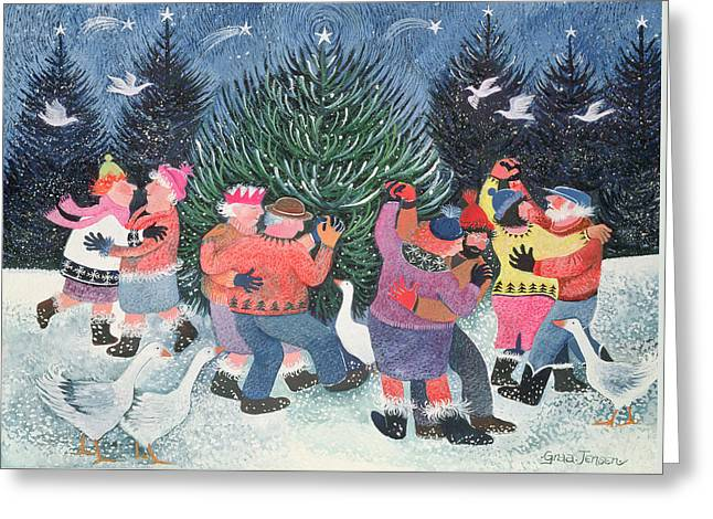 Dancing Round The Tree Greeting Card by Lisa Graa Jensen