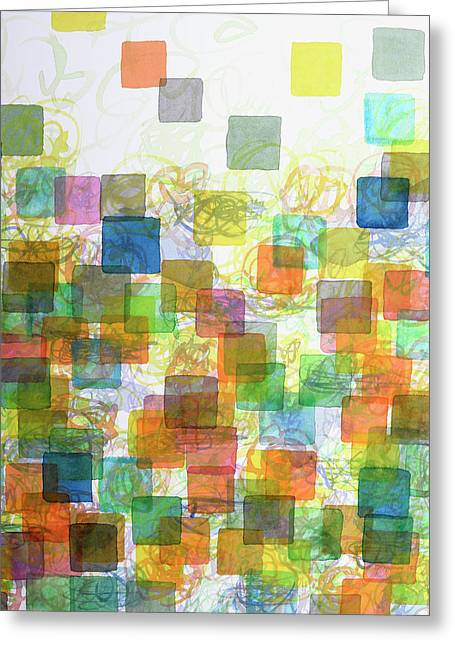 Transparency Geometric Greeting Cards - Dancing Squares Greeting Card by Heidi Capitaine
