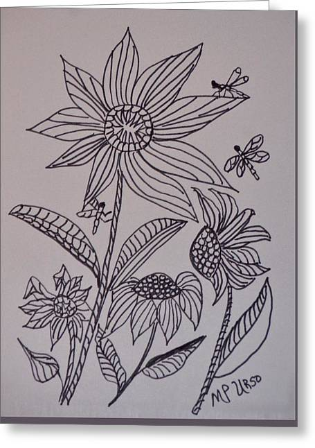 Flower Design Greeting Cards - Dancing Sunflowers Greeting Card by Maria Urso