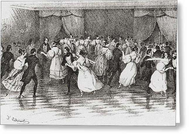 High Society Drawings Greeting Cards - Dancing The Polka At A Ball In 1830 Greeting Card by Ken Welsh