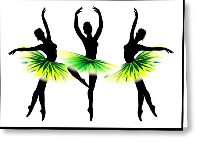 Lessons Greeting Cards - Dancing Tutus In Neon Green Greeting Card by Irina Sztukowski