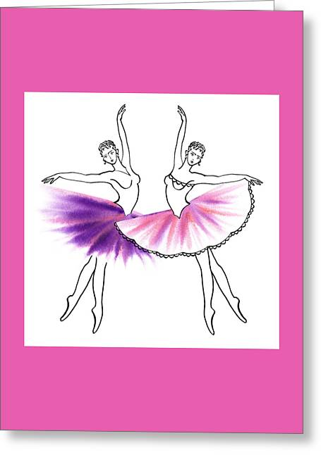 Lessons Greeting Cards - Dancing Tutus in Purple and Pink Greeting Card by Irina Sztukowski
