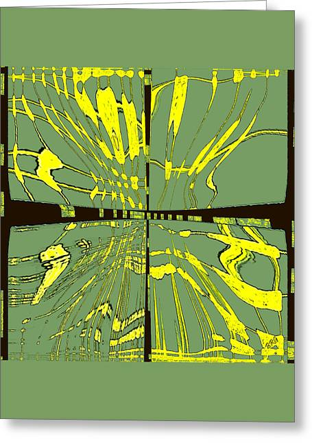 Green And Yellow Abstract Greeting Cards - Dancing Waves Greeting Card by Ben and Raisa Gertsberg