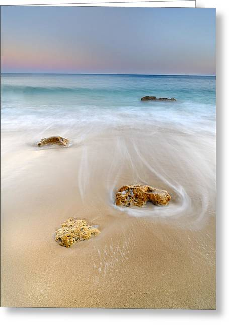 Beach Photography Greeting Cards - Dancing waves Greeting Card by Guido Montanes Castillo