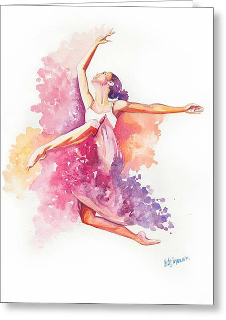 Ballet Dancers Drawings Greeting Cards - Dancing With Colors Greeting Card by Cindy Elsharouni