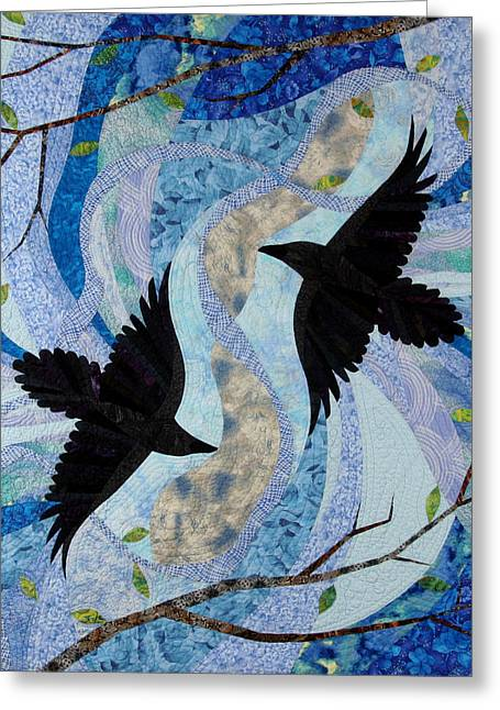 Flying Bird Tapestries - Textiles Greeting Cards - Dancing With the Chinook Greeting Card by Linda Beach