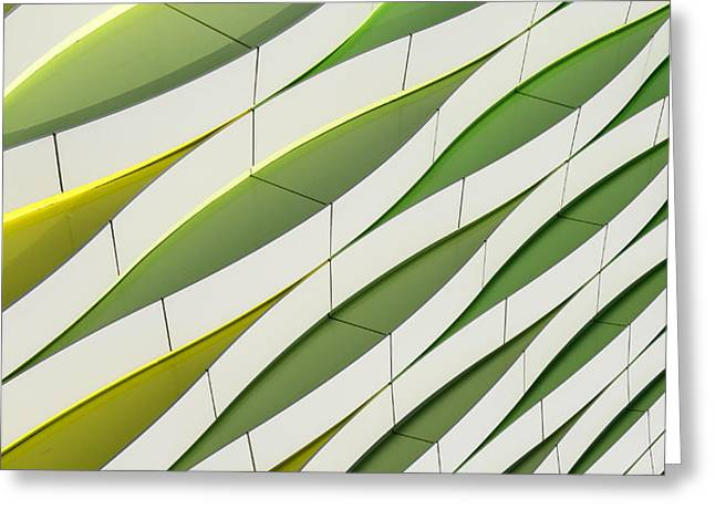 Abstract Waves Greeting Cards - Dancing Yellow And Green Greeting Card by Gerard Jonkman