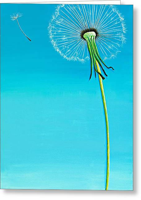 Nature Paintings Greeting Cards - Dandelion Greeting Card by David Junod