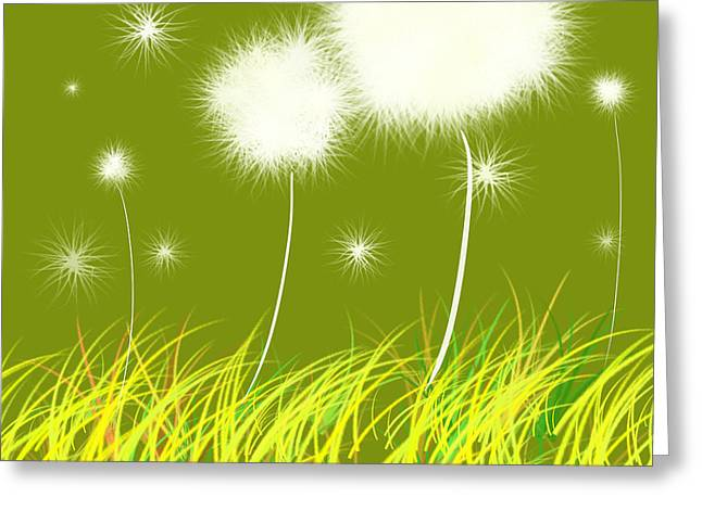 Floral Digital Art Paintings Greeting Cards - Dandelions Are Free Greeting Card by Oiyee  At Oystudio