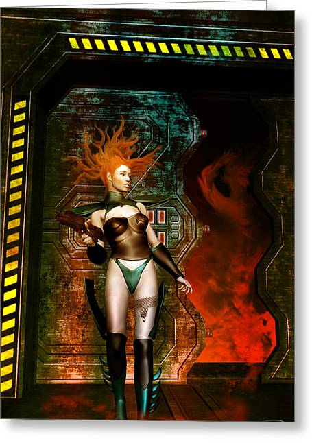 Scifi Greeting Cards - Danger Behind The Door Greeting Card by Emma Alvarez