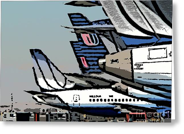 United Airline Greeting Cards - Danger-Hot Exhaust Greeting Card by David Bearden