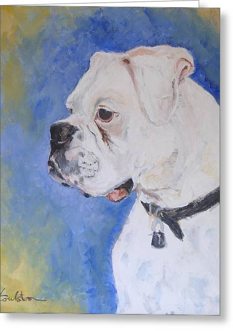 Danger The White Boxer Greeting Card by Veronica Coulston