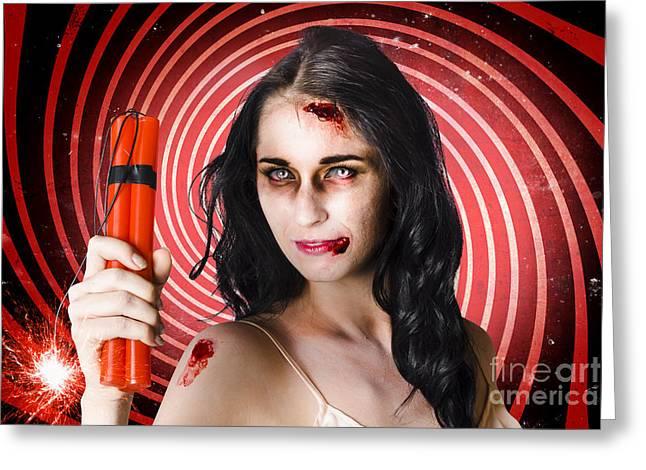 Explosive Fun Greeting Cards - Danger. Zombie holding explosives in a terror act  Greeting Card by Ryan Jorgensen