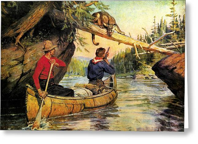 Voyageurs Paintings Greeting Cards - Dangerous Encounter Greeting Card by JQ Licensing