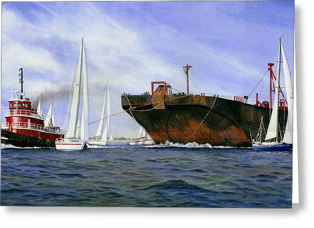Tugboat Greeting Cards - Dangerous Race Greeting Card by Marguerite Chadwick-Juner