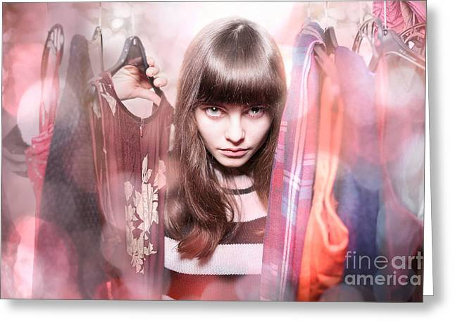 Woman In A Dress Greeting Cards - Dangerous Teenage Girl With Her Wardrobe Greeting Card by Armin Staudt