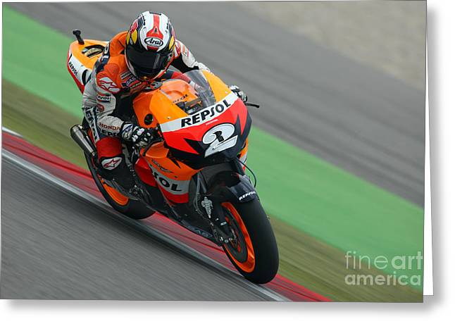 Sports Framed Photo Greeting Cards - Dani Pedrosa Greeting Card by Henk Meijer Photography