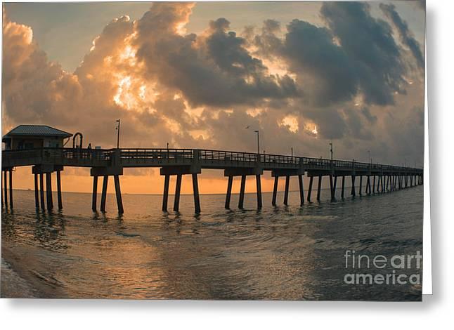 Blue Sailboats Greeting Cards - Dania Beach Fishing Pier Greeting Card by Gary Keesler