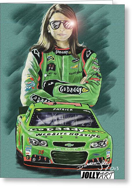 Go Daddy Greeting Cards - Danica Patrick Greeting Card by Darren Jolly