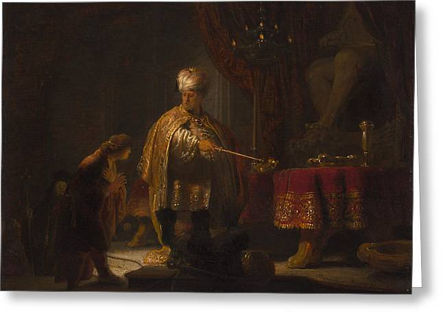 Daniel And Cyrus Before The Idol Bel Greeting Card by Rembrandt