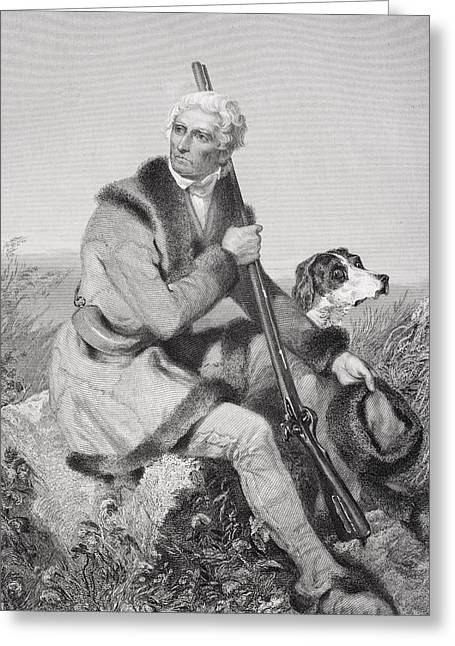 Fame Drawings Greeting Cards - Daniel Boone 1734-1820. American Greeting Card by Ken Welsh