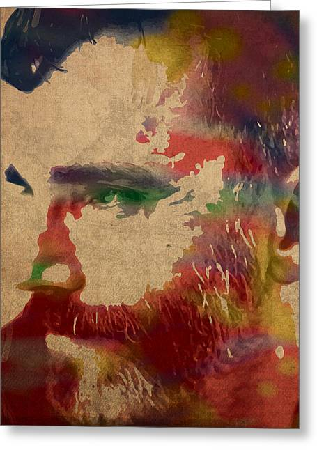 Daniel Day Lewis Watercolor Portrait On Worn Canvas Greeting Card by Design Turnpike