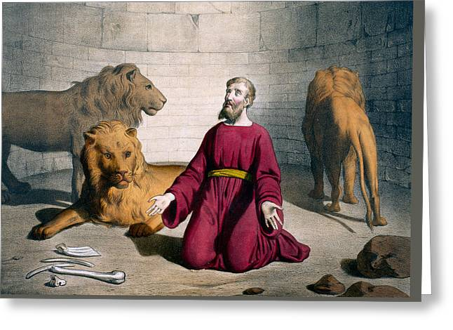Religious Drawings Greeting Cards - Daniel in the Lions Den Greeting Card by Bequet