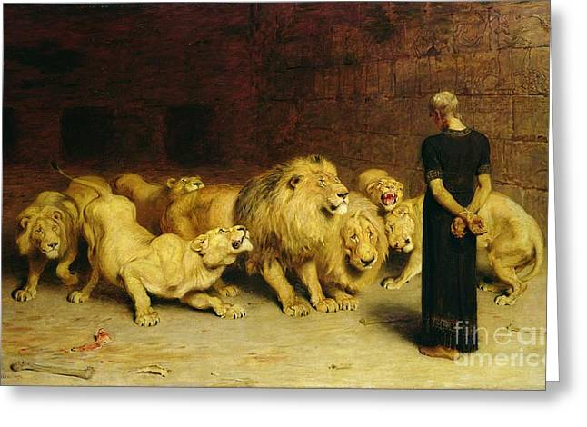 Biblical Greeting Card featuring the painting Daniel In The Lions Den by Briton Riviere