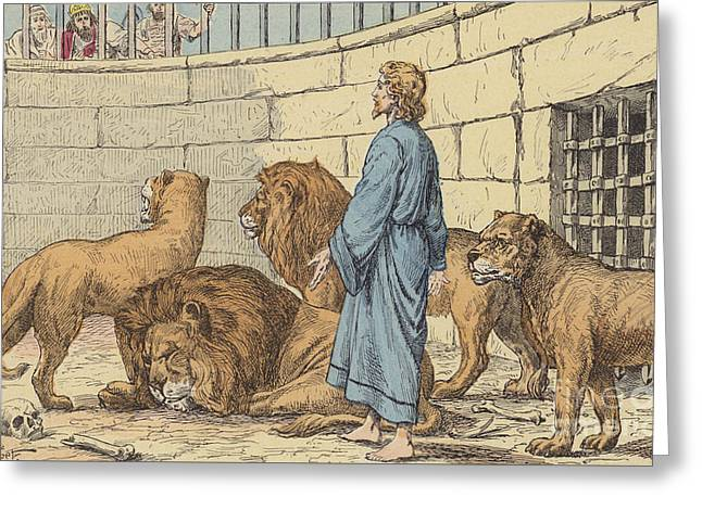 Religious Drawings Greeting Cards - Daniel in the Lions Den Greeting Card by French School