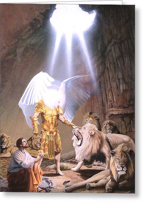Bible Greeting Cards - Daniel in the Lions Den Greeting Card by Gregory Gopp